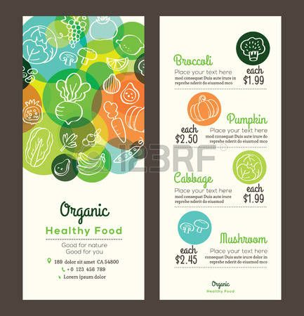 Organic healthy food with fruits and vegetables doodles illustration design template for menu flyer  Stock Vector