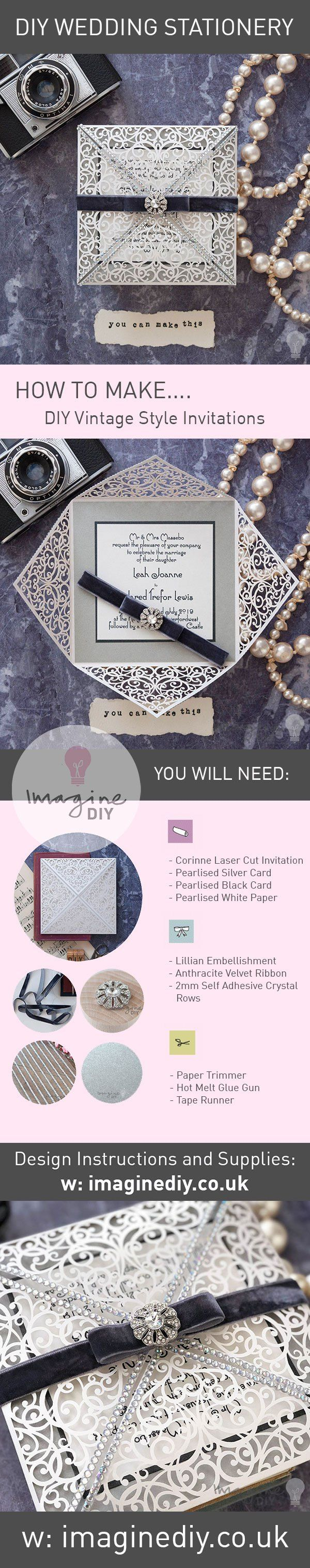 Make your own 1920s art deco wedding invitations in silver and white