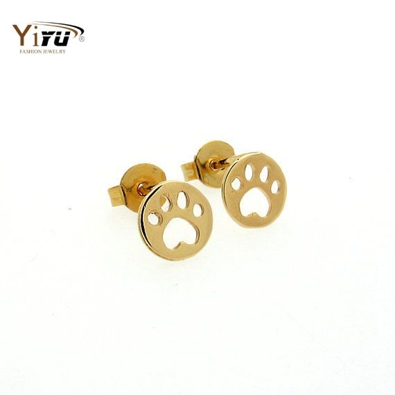 2016 New Fashion Cute Animal Bear Paw Stud Earrings for Women Vintage Dog Paw Stud Earrings Party Gifts  E093