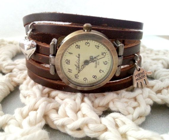 "Leather strap long wrap watch with brads, ""hand made"" and heart charms. Length 22,5cm(approx. 9in), watch face diameter 2,7cm(1,1in). Free gift packages. Great gift idea."