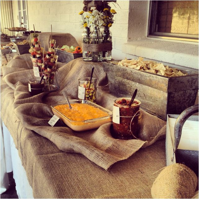 rustic style tablescape for rehearsal dinner buffet