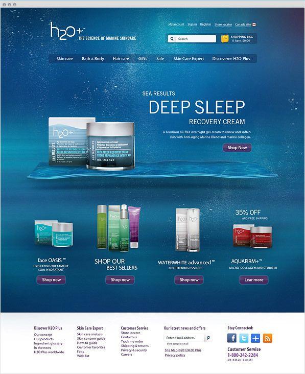 H2O Plus - Site institucional by Bruno Souza, via Behance