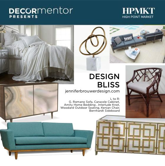 Interior Designer Jennifer Brouwer is all about bringing Design Bliss to her clients. She is based in Toronto and works all over the world. See here the new home furnishings she curated for High Point Market | The World's Home for Home Furnishings showcasing what will be new this Fall. ‪#‎HPmkt‬ #DesignBliss