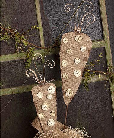 This Burlap Polka Dot Carrot Garden Stake Set is perfect! #zulilyfinds