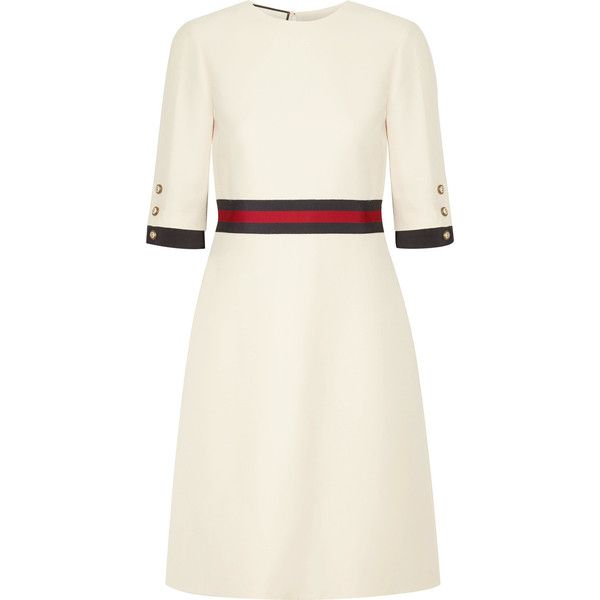 Gucci Grosgrain-trimmed wool and silk-blend mini dress ($1,555) ❤ liked on Polyvore featuring dresses, cream, gucci, short white dresses, structured dress, gucci dress and mini dress