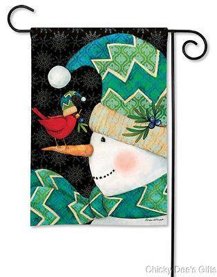 BreezeArt Garden Flag Chevron Snowman winter bird NEW