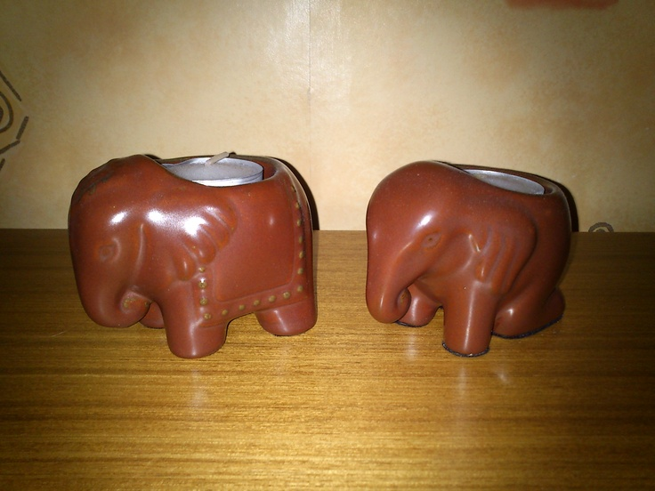 Gorgeous Elephant tea-light holders bought in a Scope charity shop