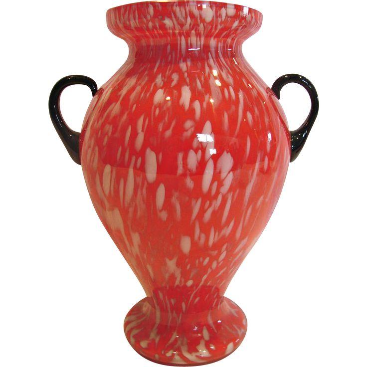 """Bohemian Czech 10"""" Art Glass Vase Red w White Streaks Black Handles Signed c 1930"""