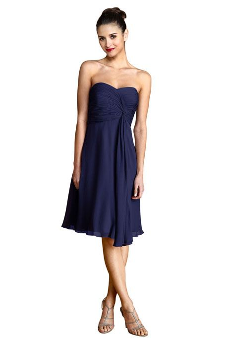 """Donna Morgan Collection. """"Tara"""" poly chiffon bridesmaid dress in midnight, $178, Donna Morgan Collection available at Weddington Way"""