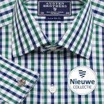 Green & Navy Tricker's Check Poplin - Extra Slim Fit overhemden - Shirts voor mannen | AUSTENBROTHERS.NL