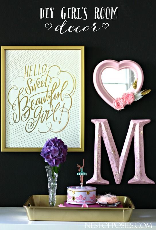 DIY Girl's Room Decor Decorating Ideas. No Black Wall, But