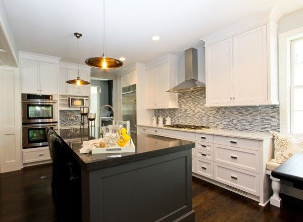 Attirant Kitchens   Two Tone Black Kitchen Island Black Marble Countertop White  Shaker Kitchen Cabinets Marble
