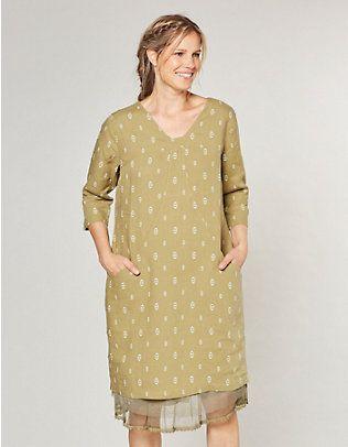 8703fb3185d Deerberg Leinen-Kleid Tonya schilfgrün-bedruckt