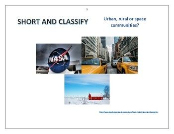 "Short and classify. Resource for preschool, elementary, ESL students and homeschoolers. Science, geography and social studies.This resource is perfect for print and laminate; for IPad or for projection on a white board.- 1 sheet with three definitions.- 10 sheets with 30 photos to classify.- 1 sheet ""Do you know...?"" (Cosmic adress, astronaut and farming).- 1 sheet ""And you?"" (Find cities, continents on a atlas or map).- 1 sheet with 23 words to classify.- 1 sheet with Youtube links."