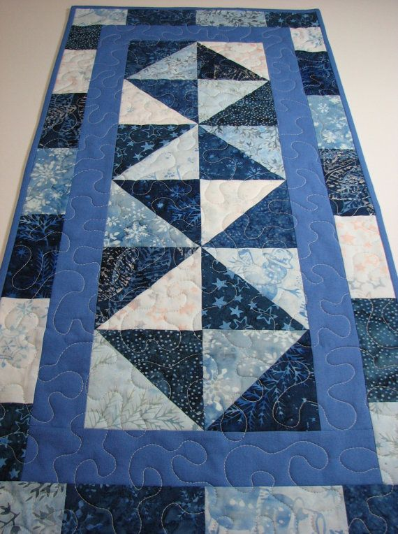 Quilted Table Runner Blue Christmas Batiks Snowflakes