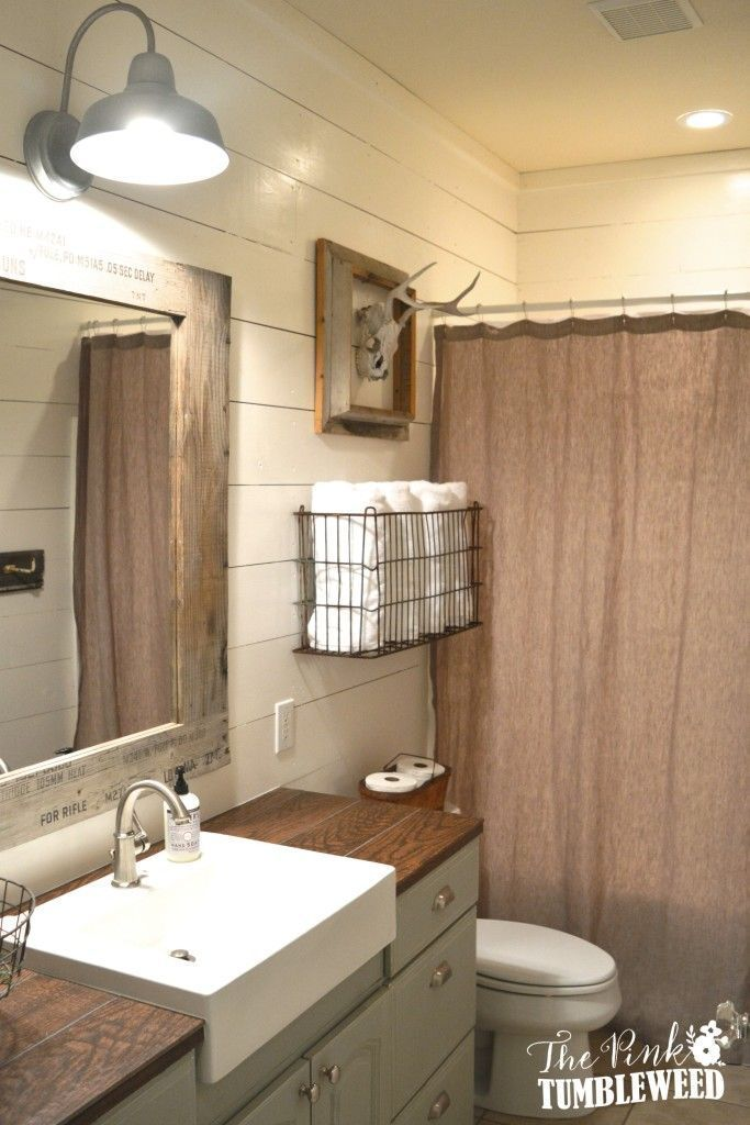 Rustic Bathroom Makeover - One Room Challenge | The Pink Tumbleweed. Rustic Bathroom SinksFarmhouse BathroomsBathroom Light ... & Best 25+ Rustic bathroom lighting ideas on Pinterest | Mason jar ... azcodes.com