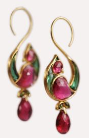 Munnu...Pink & Green Tourmaline set in 22K Gold Jhumka Drop Earrings