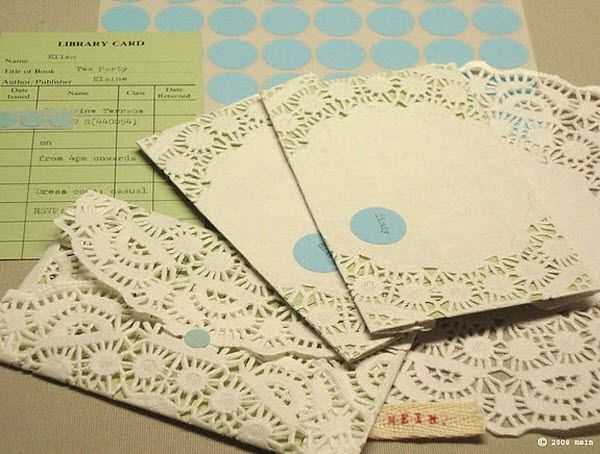 Easy doily envelopes for invitations, I can screenprint a cool design/pattern on them too so they aren't too foofy-girly since Elysa and Jenn aren't foofy-girly, but they're still kinda girly hehe