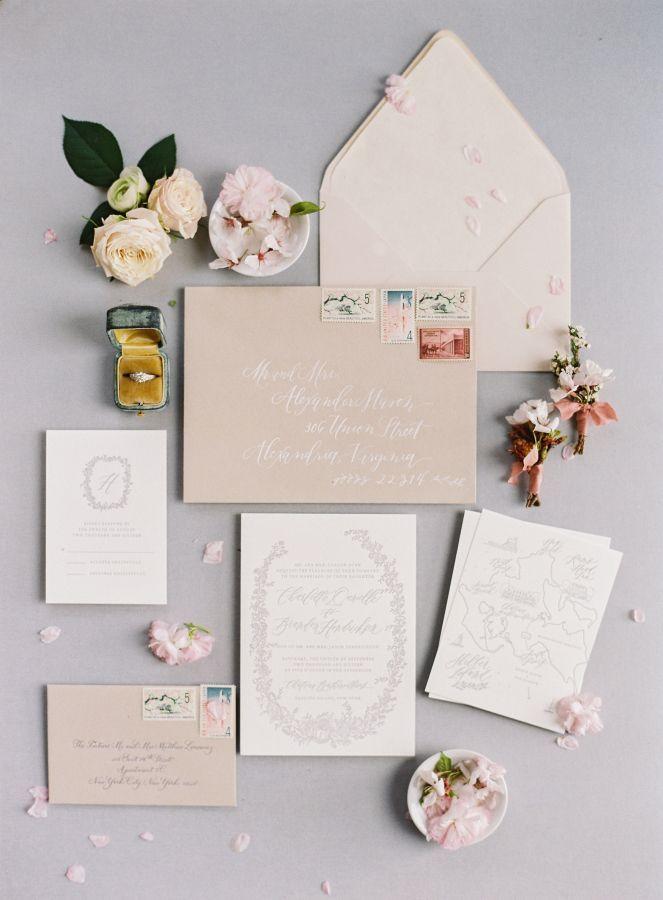 Blush wedding invitation suite: Photography: Angela Newton Roy - http://angelanewtonroy.com/
