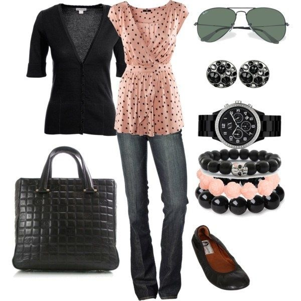 casual business aprilkarma: Casual Outfit, Polka Dots, Outfit Ideas, Dreams Closet, Jeans, Fall Outfit, Cute Outfit, Spring Outfit, Pink Black
