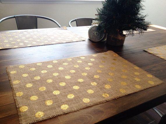 Holiday  Gold Polka Dot Burlap Placemats set of by teaandsugar, $20.00