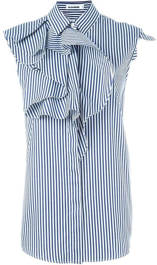 Jil Sander striped ruffled shirt