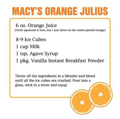 Orange Julius recipe using vanilla Carnation Instant Breakfast. I used vanilla almond milk and skipped the agave syrup. Could use more orange juice. From Making Macy's blog.