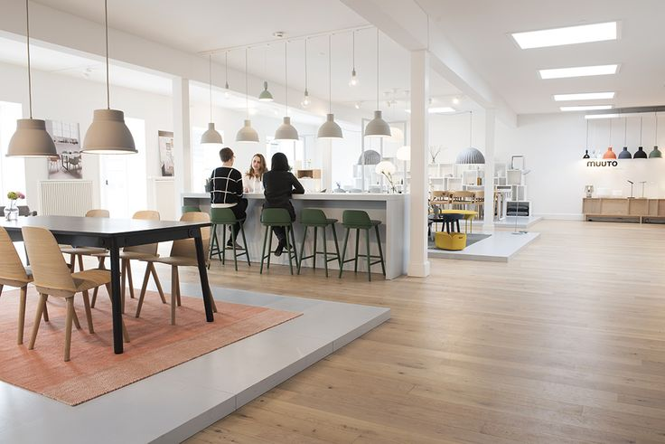 """Muuto's full collection is on display in their spacious showroom, where individual environments are dedicated to different rooms of the home. The showroom also functions as a meeting place. """"Because the number of employees at Muuto is growing, we sometimes have a lack of meeting rooms,"""" explains project manager Nina Bruun. Impromptu gatherings give visitors an opportunity to see Muuto's collection come alive through organic interactions."""