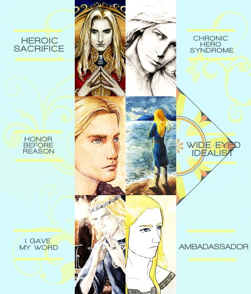 Tropes meme · Finrod:-    heroic sacrifice · chronic hero syndrome · honor before reason · wide-eyed idealist · i gave my word · ambadassador.    [art credit to:  unknown, tuuliky, gold-seven, filat, anke eissmann, hereff]