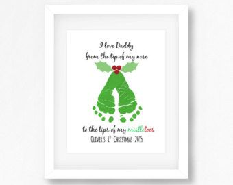 Babys 1st Christmas Gift Baby Footprint Art by PerfectLittlePrints