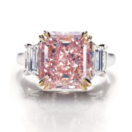 Extremely rare fancy-intense pink-diamond ring in a platinum setting from Harry Winston.