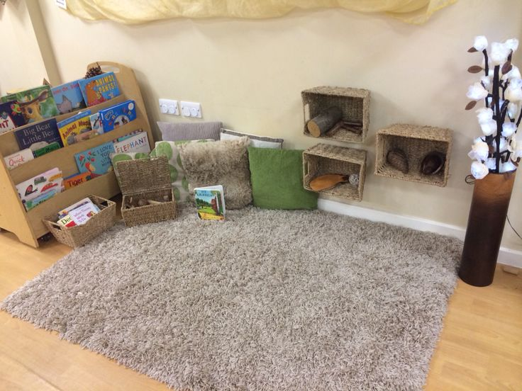 Cosy book area for 1 year olds