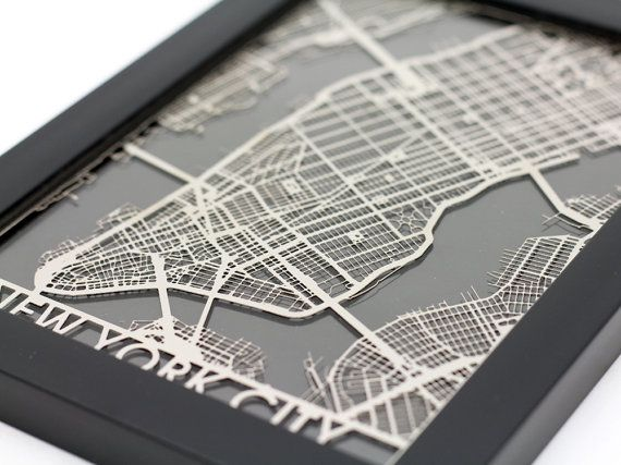 These 5x7 Stainless Steel cut maps come framed and ready to hang or display proudly on your desk