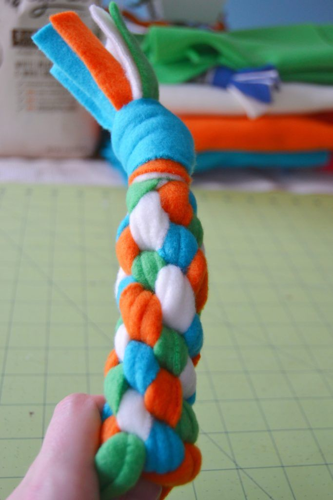 The Fleece Dog Toy Mostly Finished After Repeating The Knotting