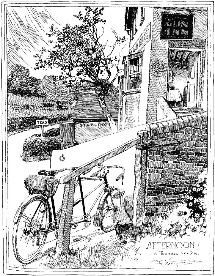 The picture of the tearoom of Britten in the early 20th century by Frank Patterson: The Cycling Artist