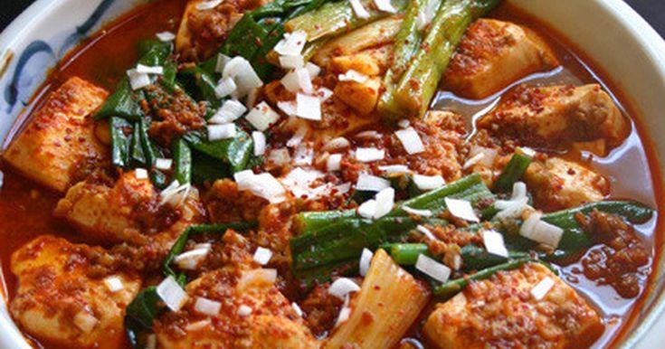 韓【豆腐と葱。赤の煮物】安旨早いでどう? by pegupepepe 【クックパッド】 簡単おいしいみんなのレシピが278万品