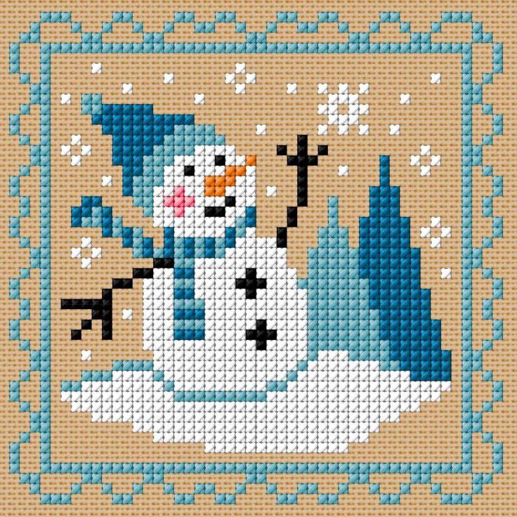 Borduurschema sneeuwman wit-blauw
