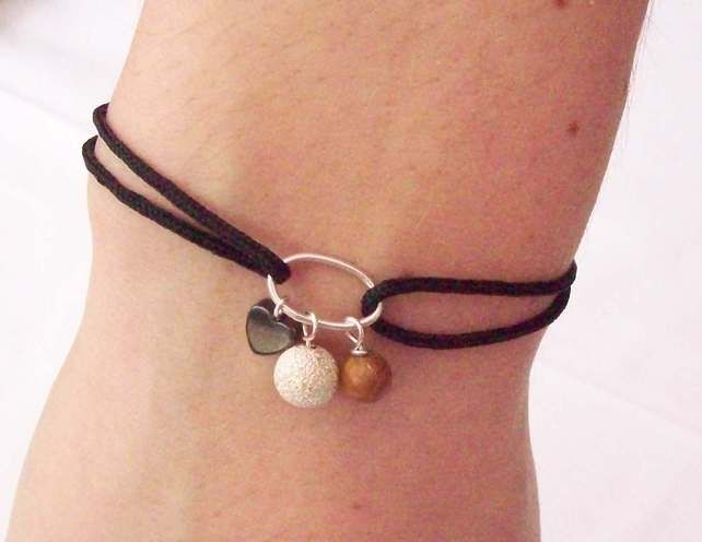 Friendship Bracelet Black with Sterling Silver