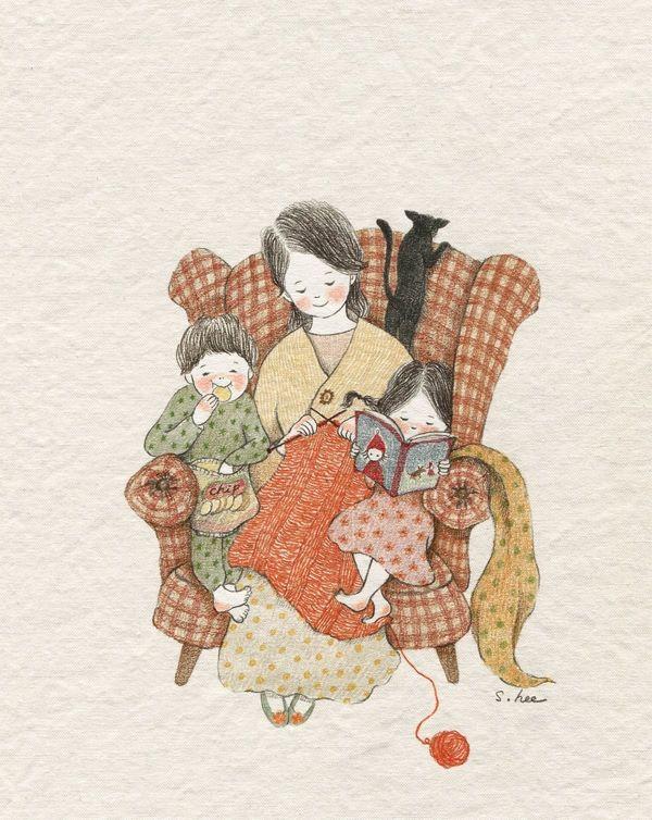 그 시절, 오빠와 나는 늘 엄마 옆에 껌딱지처럼 붙어 있었습니다. 작은 안락의자에...엄마와 함께 앉아있겠다고 쟁탈전을 벌였지요. 결국..엄마와  오빠, 나..우리 세 사람은 작은 의자에 함께 끼어 앉아있곤 했답니다. 좁고 불편해서 오빠와 투닥거리며 싸우기도 했지만 추운 겨울...서로의 체온이 얼마나 따스했는지... 그 소소한 시간들이 얼마나 포근했었는지... 지금도 문득 문득.. 엄마 냄새가 가득 배인 작은 안락의자가 그립습니다.