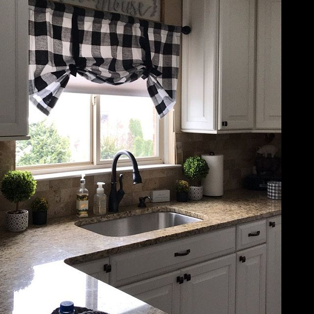 Black And White Bufflo Check Tie Up Shade Designer Valance Etsy Kitchen Design Trends Home Kitchen Curtains