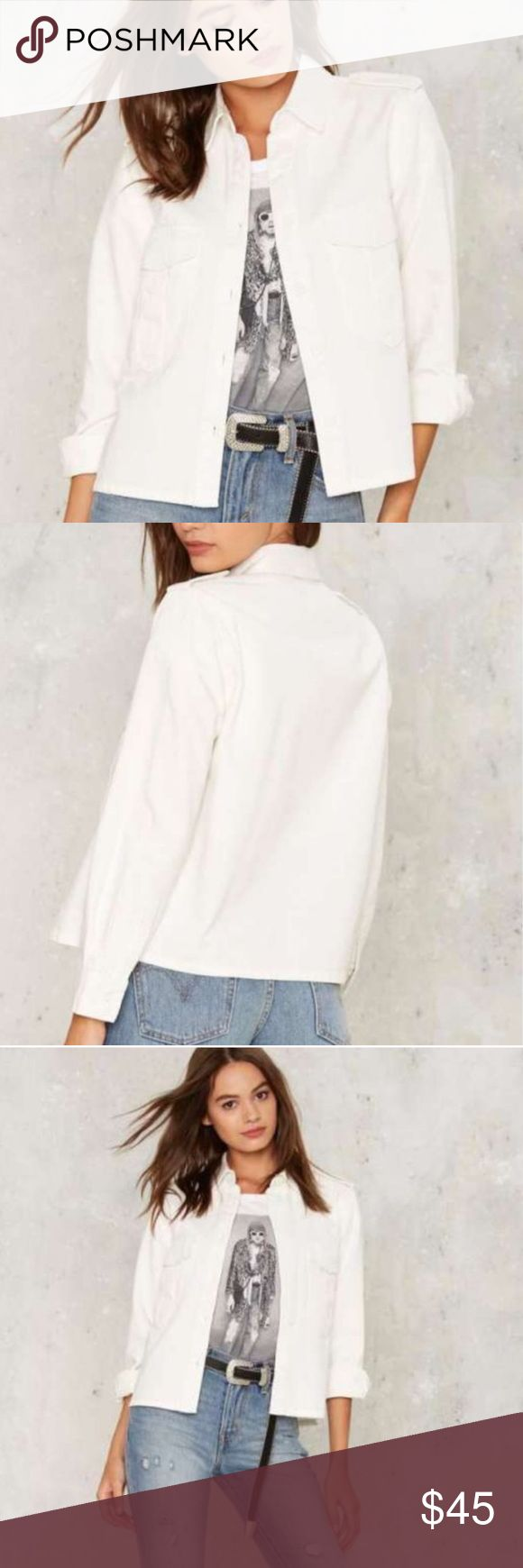 New! WHITE denim JACKET cotton utility shirt SZ M New! Crisp COTTOn white denim jacket with button front closure, 2 flap pockets at chest and button cuffs. Looser foot for versatility, style and comfort! Size M. (F1) Nasty Gal Jackets & Coats Jean Jackets