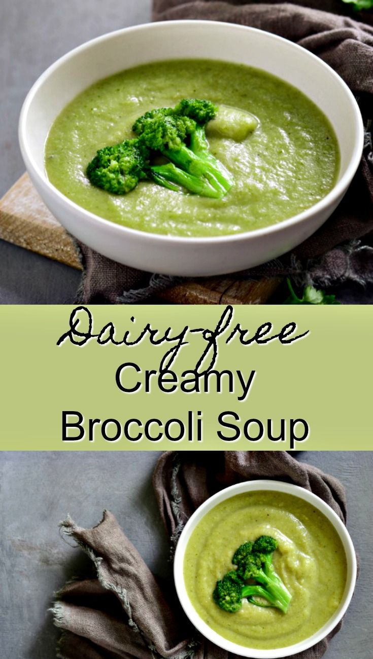 Creamy Broccoli Soup made dairy-free. This is a quick and healthy side or main dish with a vegan option | Blender soup. broccoli soup, dairy free soup, paleo soup via @cleaneatingkitchen