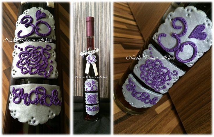 bor címke / süthető gyurma / ajándék ötlet / 30. házassági évfordulóra
