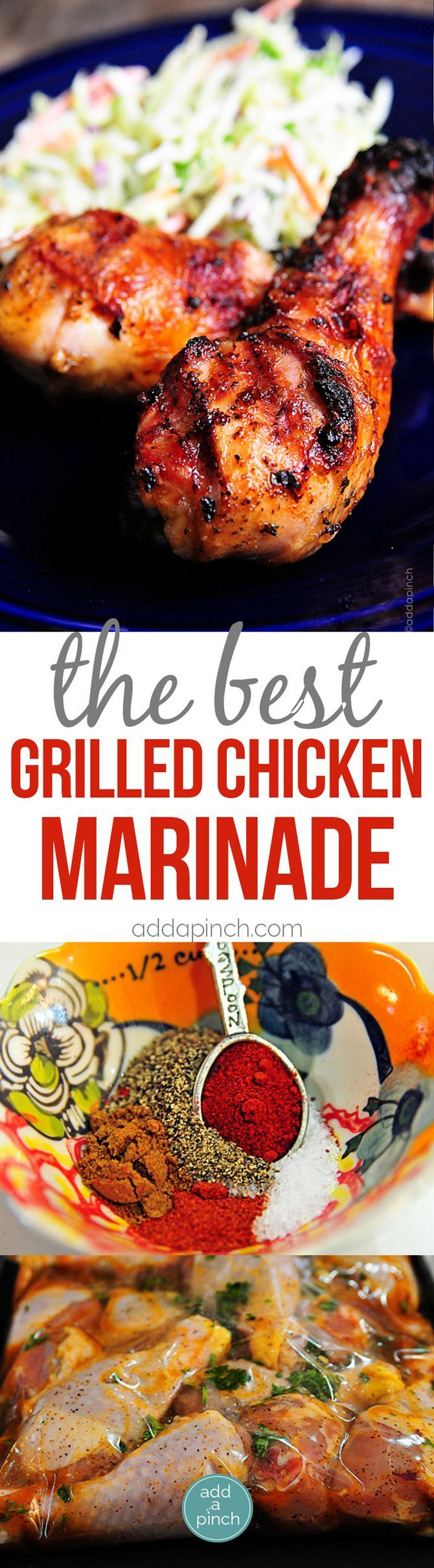 Best Grilled Chicken Marinade Recipe - Grilled Chicken recipes are always a crowd-pleaser. This easy grilled chicken marinade recipe will become a favorite! // http://addapinch.com