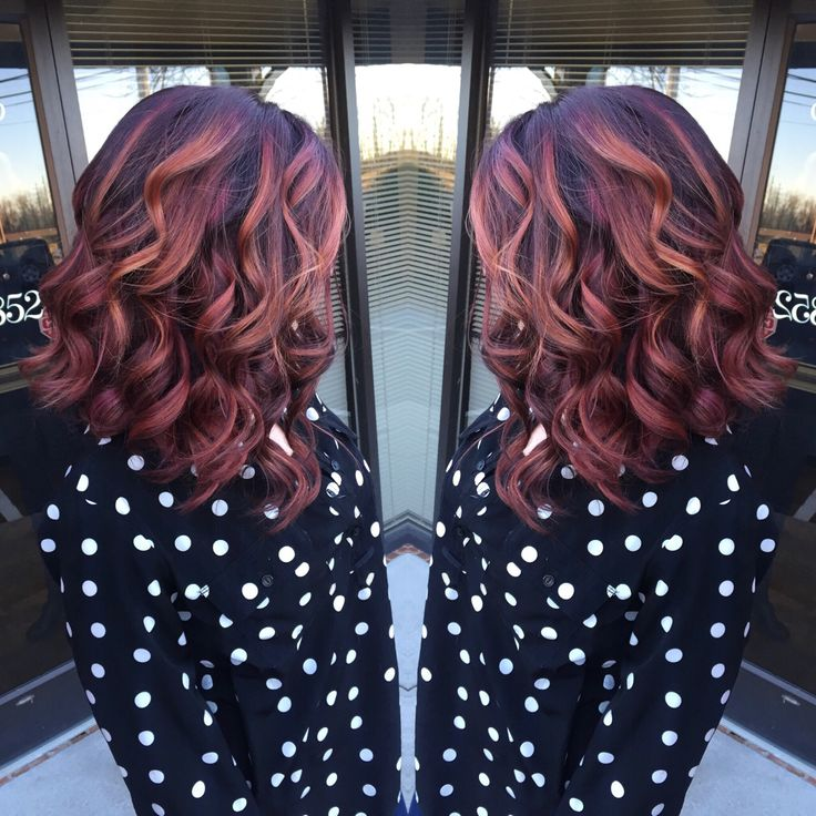 Balayage, red violet copper