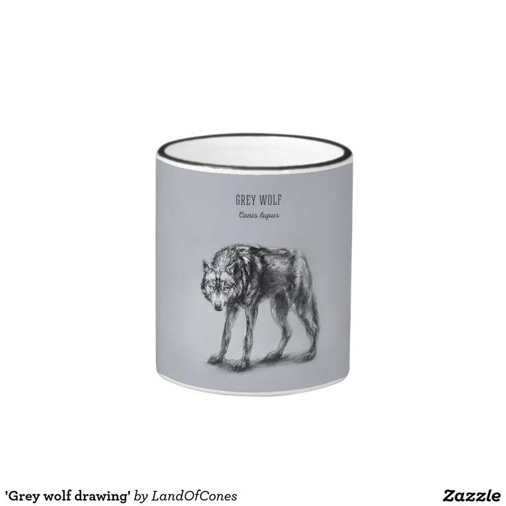 'Grey wolf drawing' Ringer Mug