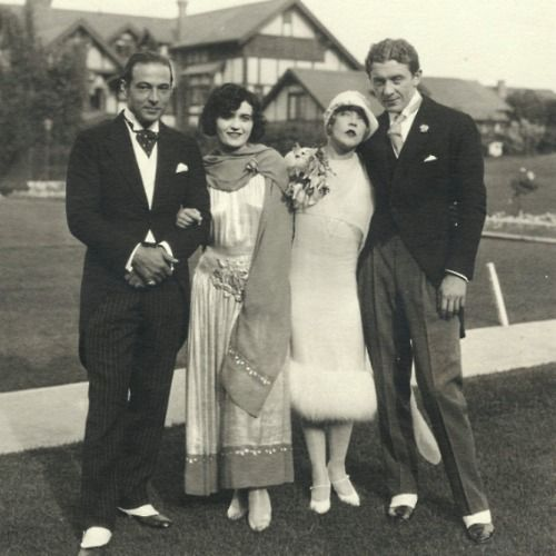 Rudolph Valentino and Pola Negri with Mae Murray and Prince Mdivani on their wedding day, 1925.