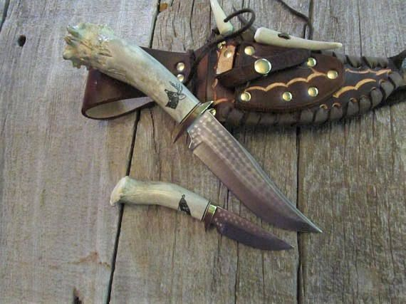 Hunting Knife Knives Stag Handle Combo Set Antler Horn Bone