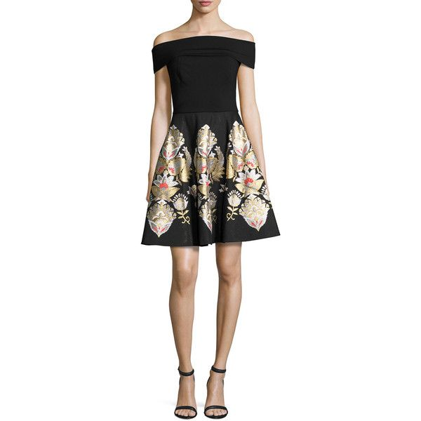 Ted Baker London Airlo Opulent Jacquard Bardot Dress ($122) ❤ liked on Polyvore featuring dresses, black, a line cocktail dress, floral a line dress, off shoulder dress, floral dresses and open back cocktail dress