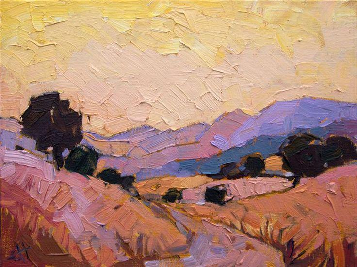 California warm sunset light, landscape oil painting by modern artist Erin Hanson